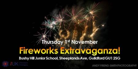 Thursday 1st November Fireworks Extravaganza at Bushy Hill Junior School, Guildford, Surrey. Join us for our professional fireworks display: a family show with glow stall, refreshments and bar.